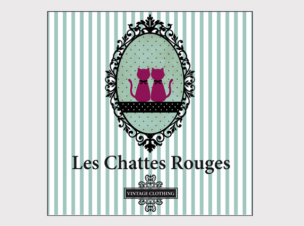 Chattes Rouges - logo design - Vintage store